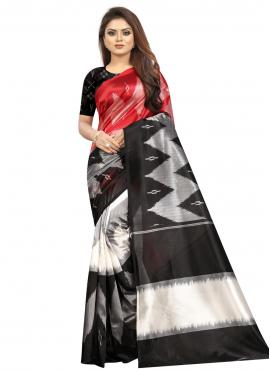 Black and Red Ceremonial Printed Saree