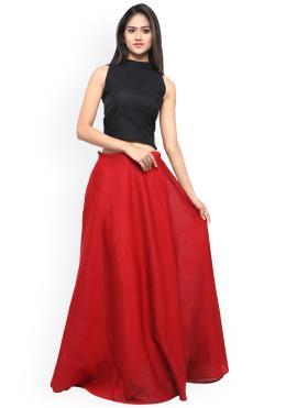 Black and Red Chanderi Cotton Plain Readymade Lehenga Choli
