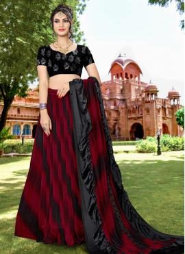 Black and Red Lycra Embroidered Lehenga Choli