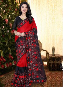Black and Red Party Silk Classic Saree