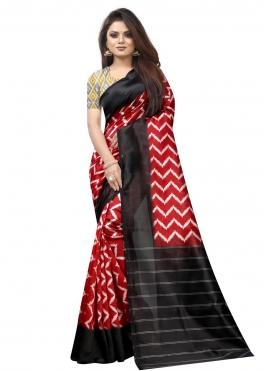 Black and Red Raw Silk Casual Traditional Saree
