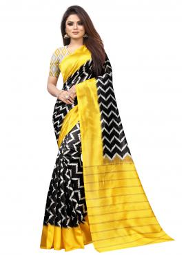 Black and Yellow Abstract Print Casual Traditional Saree