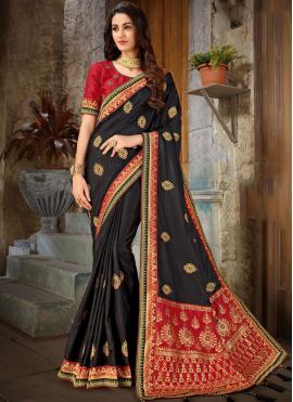 Black Art Silk Embroidered Trendy Saree