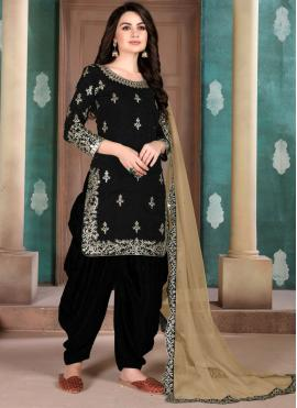 Black Art Silk Resham Patiala Salwar Kameez