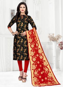 Black Banarasi Silk Weaving Churidar Suit