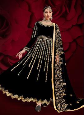 Black Ceremonial Faux Georgette Floor Length Anarkali Suit