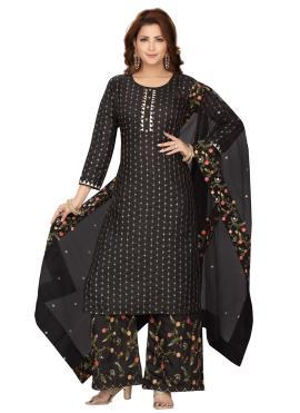 Black Chanderi Festival Readymade Suit
