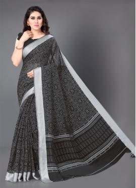 Black Cotton Printed Classic Saree