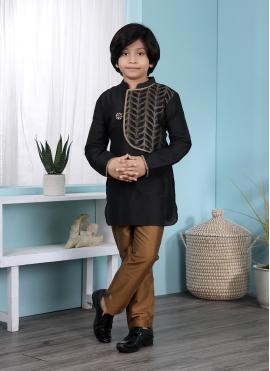Black Cotton Silk Kurta Pyjama