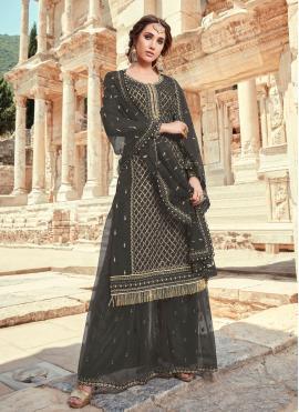 Black Embroidered Faux Georgette Designer Pakistani Salwar Suit