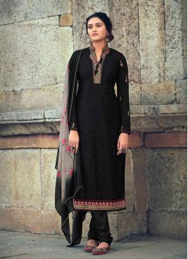 Black Embroidered Festival Designer Straight Suit
