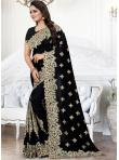 Black Embroidered Festival Traditional Saree - 1