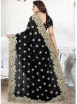 Black Embroidered Festival Traditional Saree - 2