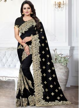 Black Embroidered Festival Traditional Saree