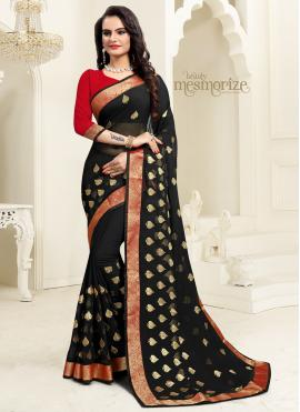 Black Embroidered Georgette Designer Saree