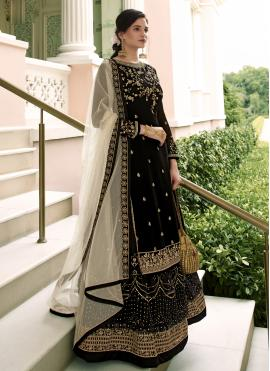 Black Embroidered Net Designer Long Lehenga Choli