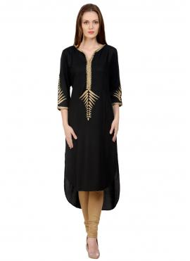 Black Embroidered Party Party Wear Kurti
