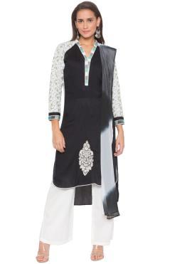 Black Festival Cotton Readymade Suit