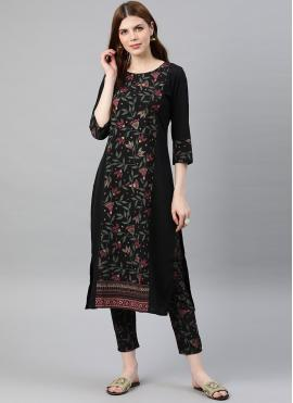 Black Foil Print Crepe Silk Readymade Salwar Kameez