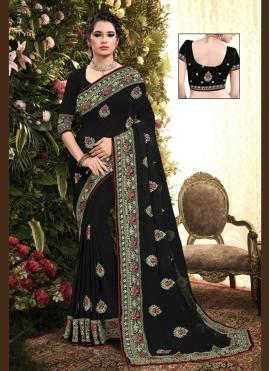 Black Georgette Embroidered Classic Saree