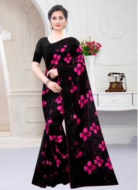 Black Georgette Satin Designer Saree
