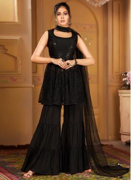 Black Net Embroidered Salwar Suit