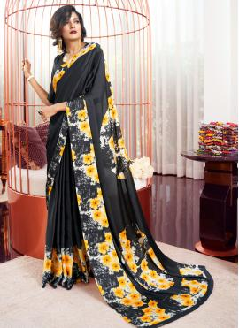 Black Printed Party Trendy Saree