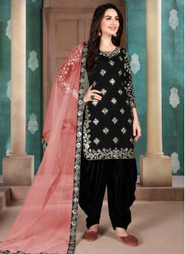 Black Reception Art Silk Designer Patiala Salwar Kameez
