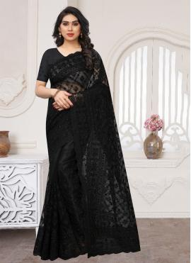 Black Reception Net Contemporary Saree