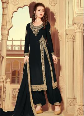 Black Resham Faux Georgette Designer Pakistani Suit