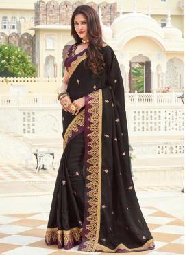 Black Silk Engagement Designer Saree