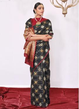 Black Silk Weaving Contemporary Saree