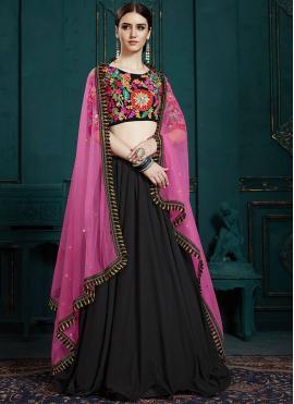 Black Thread Work Faux Georgette Trendy Designer Lehenga Choli