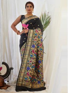 Black Weaving Engagement Designer Traditional Saree