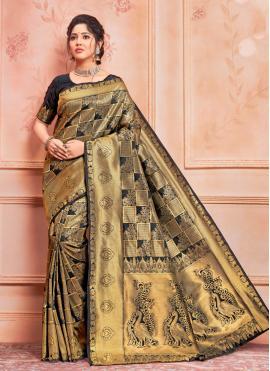 Black Weaving Jacquard Silk Designer Traditional Saree