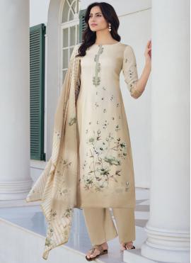 Blended Cotton Beige Printed Designer Pakistani Suit
