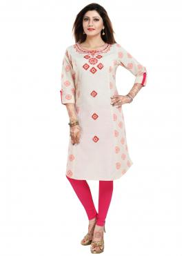 Blended Cotton Print Off White Party Wear Kurti