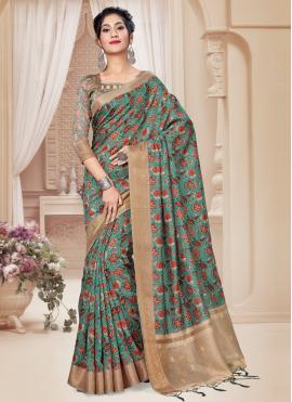 Blissful Art Silk Digital Print Sea Green Printed Saree