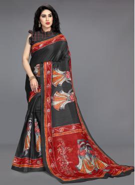 Blissful Black Casual Printed Saree