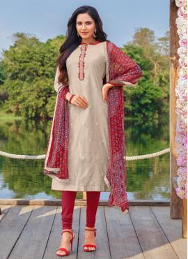 Blissful Embroidered Cotton Churidar Designer Suit