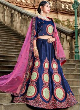 Blissful Embroidered Satin Blue Lehenga Choli