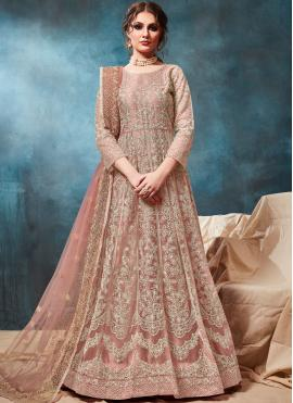Blissful Peach Embroidered Net Trendy Anarkali Salwar Suit