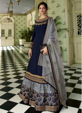 Blissful Resham Navy Blue Faux Georgette Designer Long Lehenga Choli