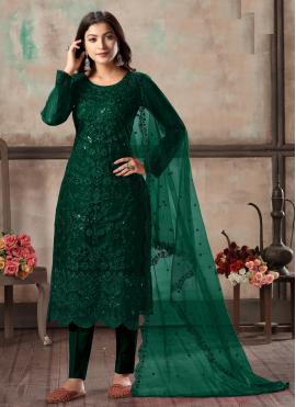 Blissful Sequins Green Net Churidar Designer Suit