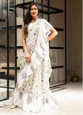 Block Print Cotton Designer Saree in Off White