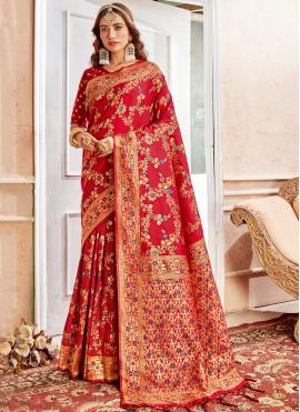 Blooming Banarasi Silk Weaving Classic Saree