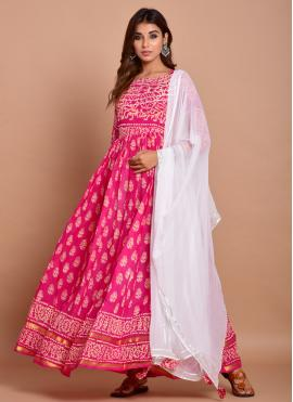 Blooming Cotton Pink Block Print Readymade Designer Gown