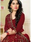 Blooming Embroidered Red Georgette Classic Saree - 1