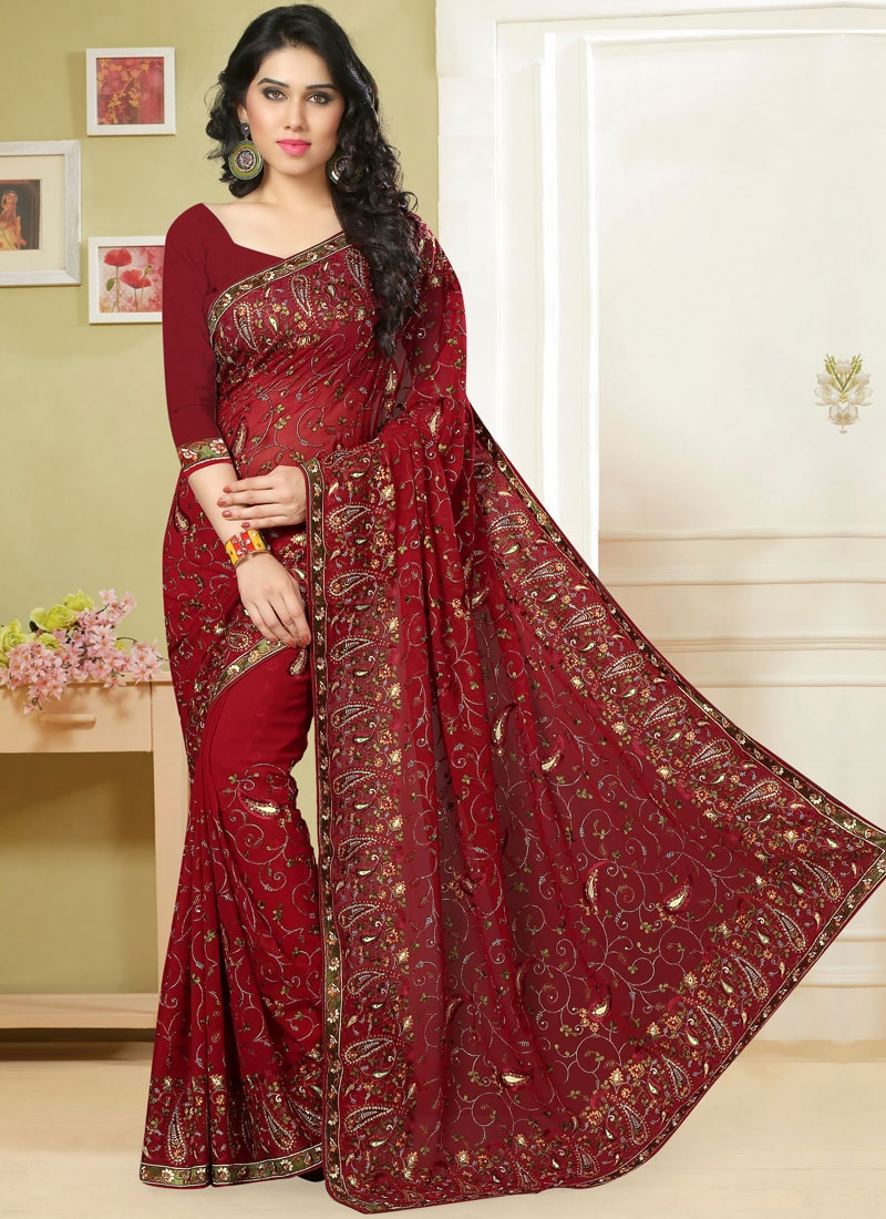 Blooming Embroidered Red Georgette Classic Saree