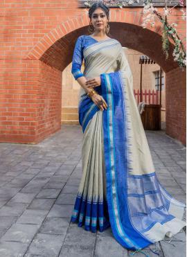Blue and Cream Raw Silk Traditional Designer Saree